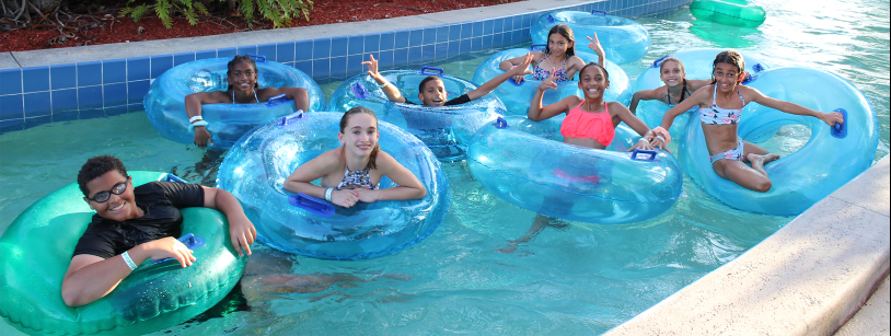 group of kids in lazy river